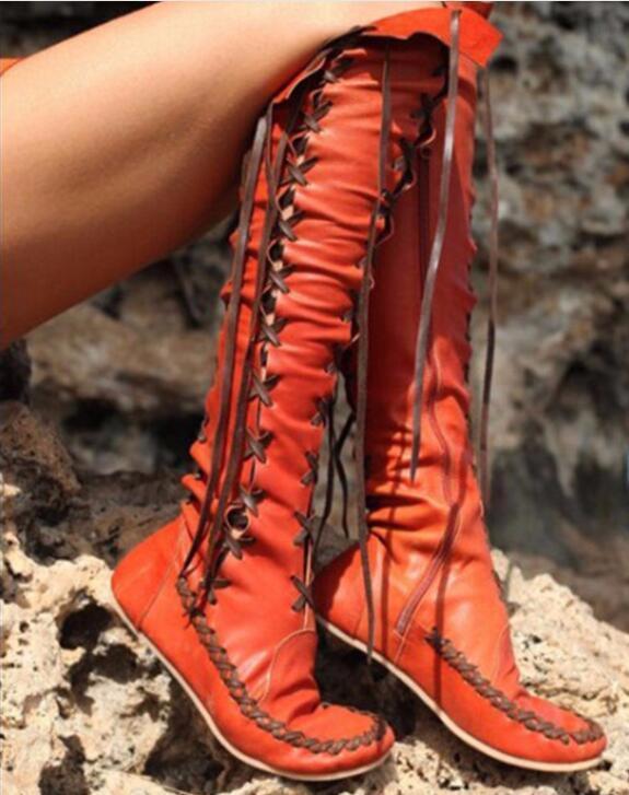 Nueva Nueva Nueva camiseta para mujer de cuero con cordones vendaje sobre la rodilla botas altas Zapatos Roma Talla Grande  preferente