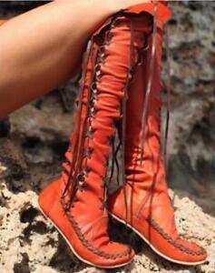 Hot-Femmes-Lacets-en-Cuir-Bandage-Sur-Le-Bottes-Hautes-ROMA-chaussures-Taille-Plus