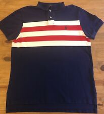Ralph Lauren-Polo shirt-Navy Blue, White & Red Stripe-Custom Fit-Talla M