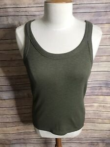 NWT-Madewell-Sz-L-Olive-Green-Audio-Knit-Tank-Top-Blouse-Cotton