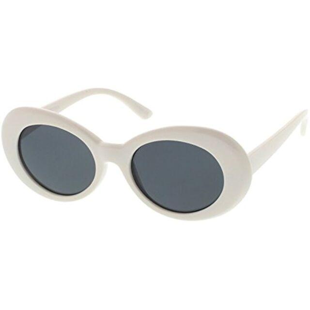 0fd102035f zeroUV White Bold Retro Oval Mod Thick Frame Sunglasses Clout ...