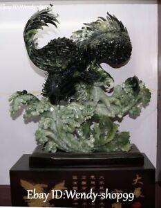 24-034-Unique-Natural-Green-Jade-Carving-Hawk-Eagle-Falcon-Fish-Goldfish-Statue