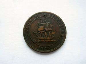 Canada-Colonial-token-Breton-965-NS-21A4-Trade-amp-Navigation-Half-Penny