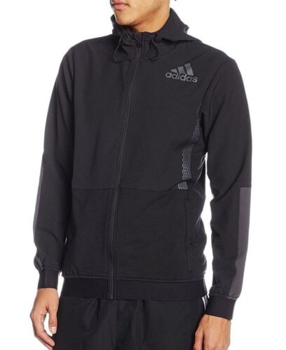 Mens New Adidas Zip Hoodie Hoody Track Jacket Tracksuit Top Sports Coat Black