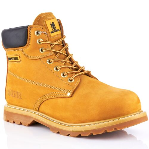NEW MENS SAND LEATHER SAFETY WORK BOOTS STEEL TOE CAP ANKLE HIKER SHOES SZ 4-13