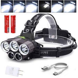 LED Taschenlampe Wiederaufladbare Zoom Jagd Licht 18650 Stirnlampen Kopflampe #