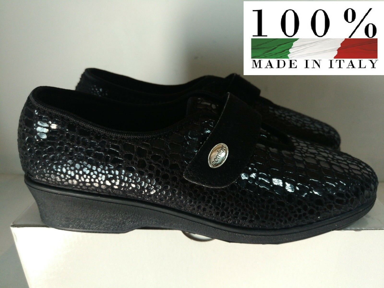 Swallow Shoe Slipper Ladies Black Wool Footbed Suede Italy No. 40 NEW