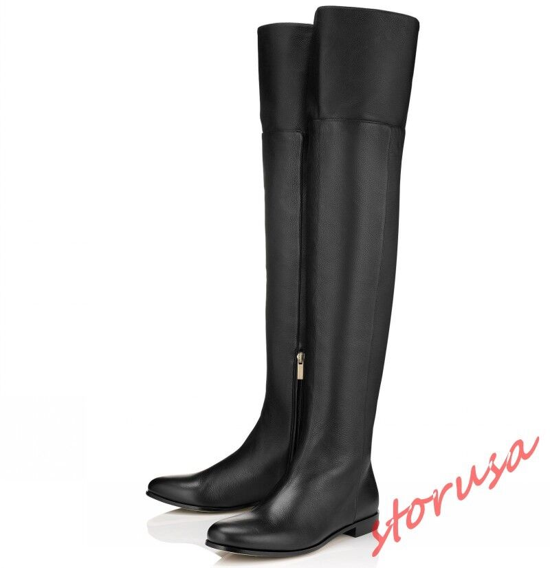 vendita scontata online di factory outlet donna Flats Over The Knee Knight stivali Round Round Round Toe Leather scarpe Side Zip US4-12  caldo