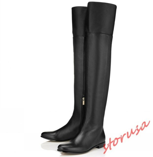 4b9fd26b Womens Flats Over The Knee Knight Boots Round Toe Leather Shoes Side Zip  US4-12
