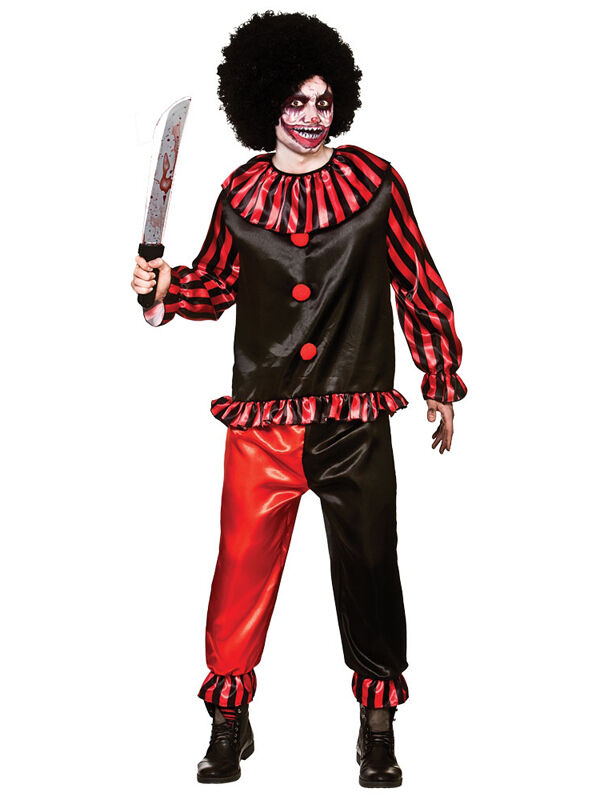 Mens Halloween Horror Carver The Killer Clown Fancy Dress Costume Pennywise New