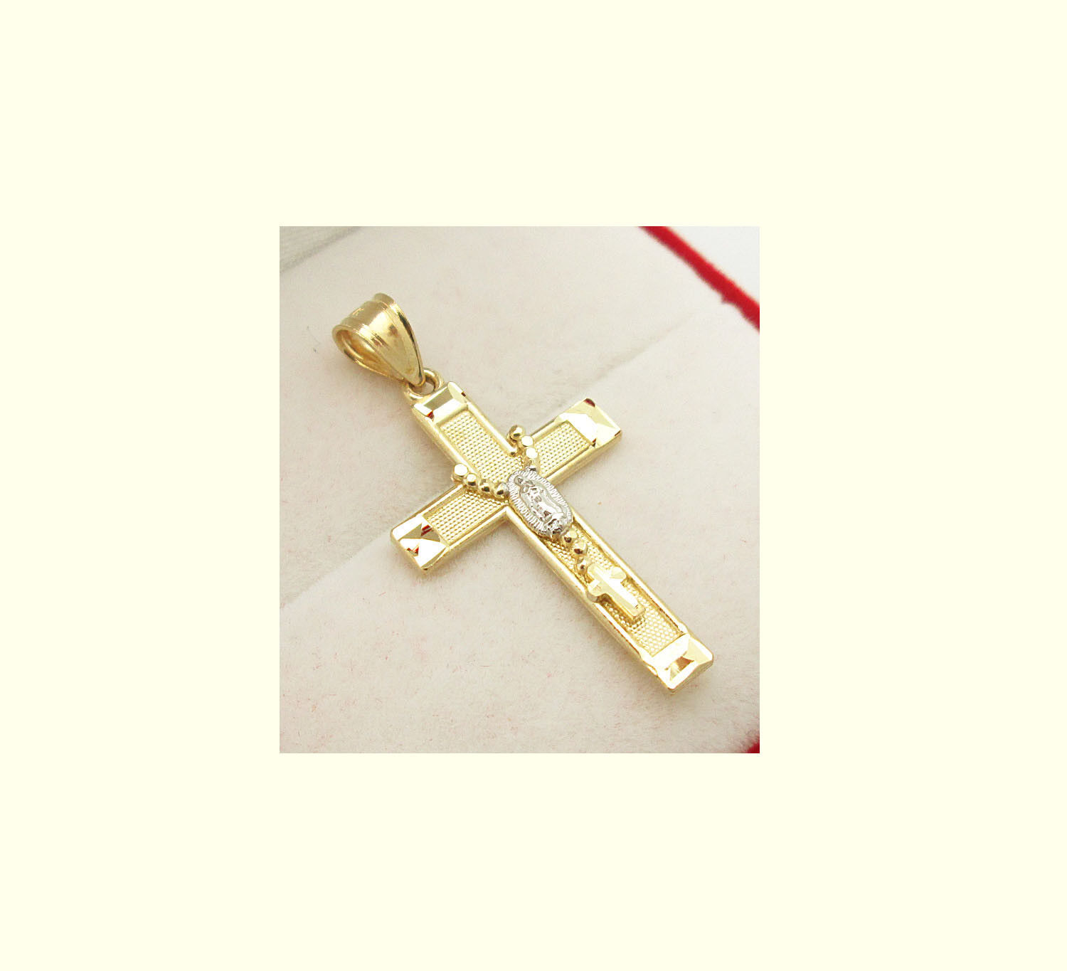 10k Two Tone Gold Rosary Cross Pendant Guadalupe Cross 1.2 inch