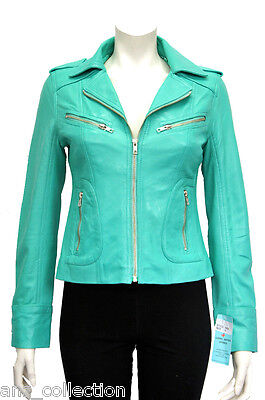 Candice Turquoise Ladies Women Biker Style Short  Real Sheep Leather Jacket