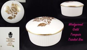 Lovely-Wedgwood-Bone-China-Gold-Tonquin-Round-Lidded-Trinket-Box