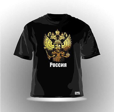 "EAKS® HERREN T-SHIRT ""RUSSLAND WAPPEN"" Schwarz #3 Russia Putin Moskau Kreml NEU"