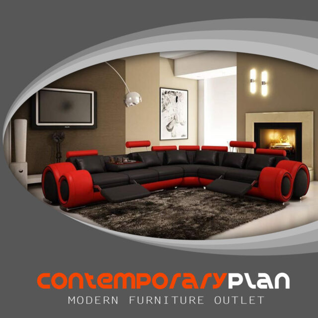 Contemporary Black and Red Bonded Leather Sectional Sofa Modern Soflex Chicago