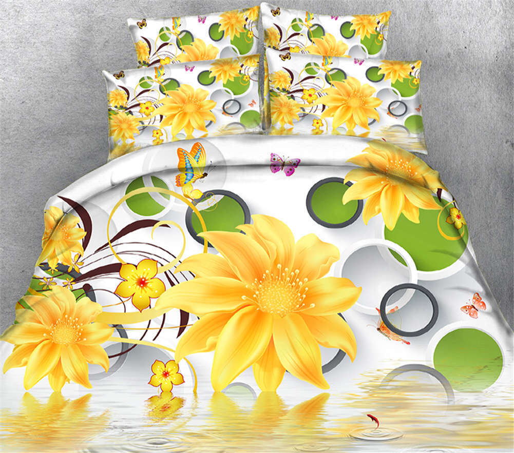 Golden Chrysanthemum 3D Druckening Duvet Quilt Will Startseite Pillow Case Bettding Set