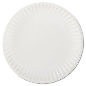AJM-Packaging-Corporation-White-Paper-Plates-9-034-Diameter-100-Bag-PP9GREWHPK