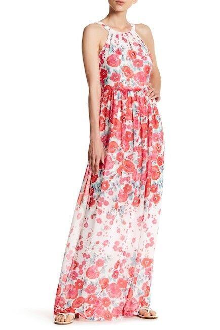 Eliza J Floral Maxi Dress Rosa Ivory Combo Größe 4