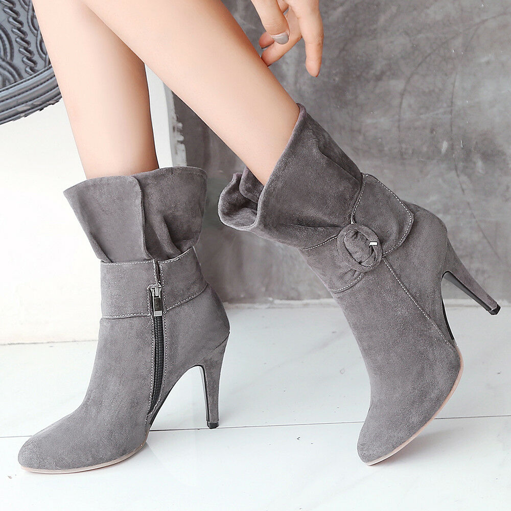 Women Ankle Short Boots Point Toe Suede Bowknot Stiletto High Heel Winter shoes
