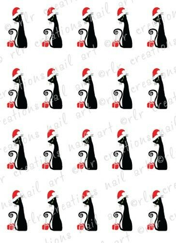 20 NAIL DECALS * FASHIONISTA CHRISTMAS CAT * WATER SLIDE NAIL ART DECALS
