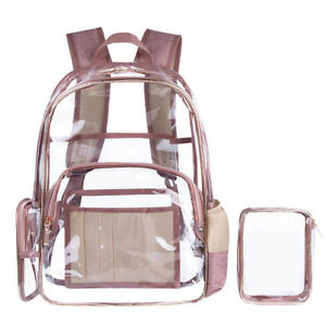 85602930cd2 Image is loading Women-Girls-Transparent-Clear-Backpack-School-Bag-PVC-