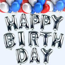 "13pcs Letter Folienballons Party Dekoration 16"" Silber Alles Gute Zum Geburtstag"