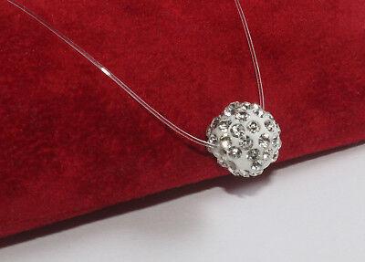 UNSICHTBAR NYLONKETTE Halskette schwebende Strass Kugel 10mm Nylon transparent   eBay