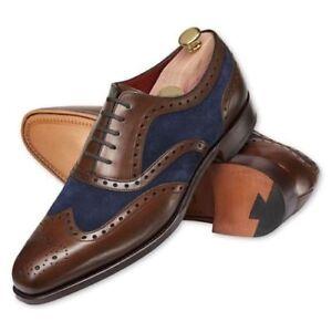 Zapatos-de-vestir-De-hombre-hecho-a-Mano-Dos-Tonos-Zapatos-Hombre-Zapatos-De-Gamuza-Cuero-formales