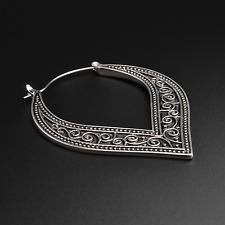Tribal Swirl Plug Hoops Earrings | Antique Silver | Ear Hangers | Sold As Pair