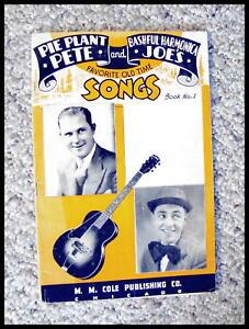 """Diplomatique Sérieux Collectionneurs 1938 """"pie Plant Pete Et Pudique Joe's"""" Harmonica Chansons.-afficher Le Titre D'origine"""