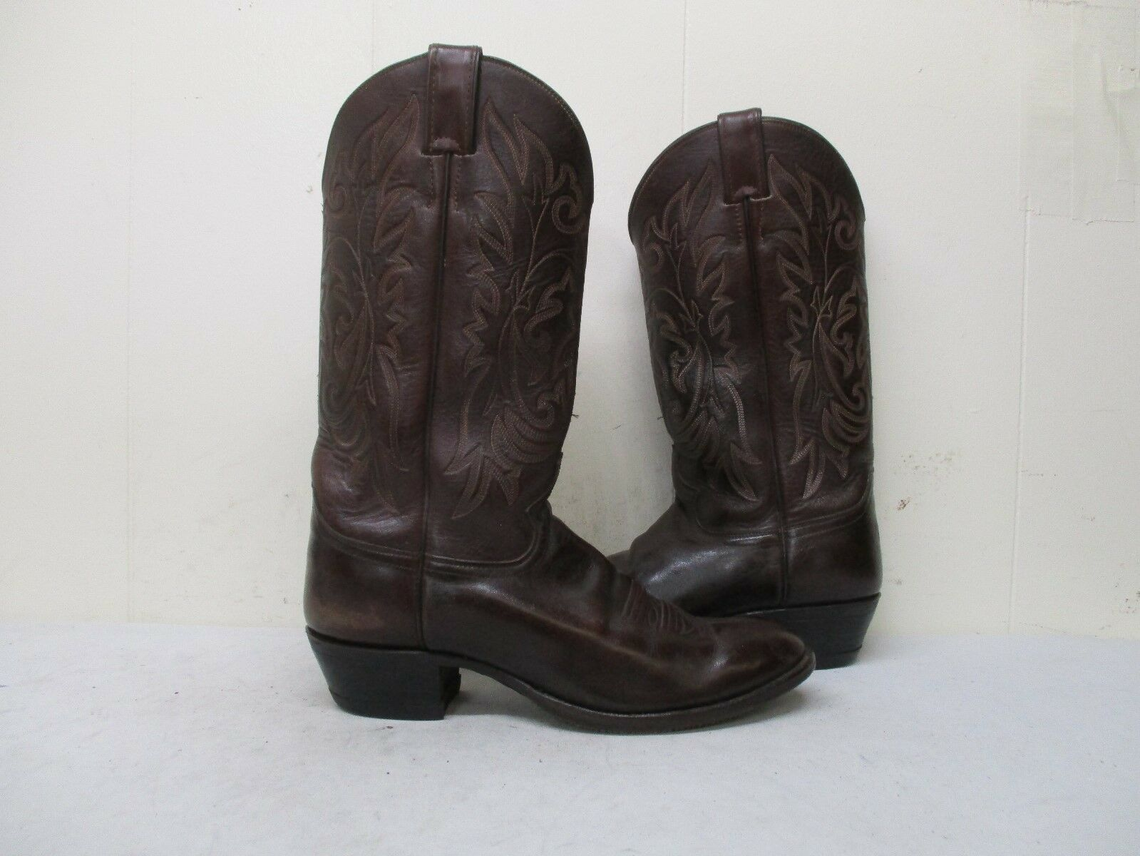 JUSTIN Brown Leather Cowboy Boots Mens Size 9.5 D Style J 5408
