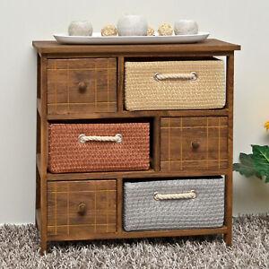 Dettagli su ts-ideen Mobiletto in stile rustico con 3 cassetti e 3 cestini