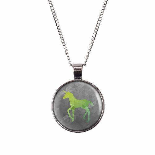 Mylery collar con motivo unicornio verde elegante blanco plata o bronce 28mm