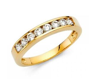 14k-Solid-Yellow-Gold-0-75-Ct-Round-Cut-Diamond-Wedding-Band-Ring-Channel-Set