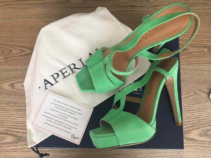 Aperlai Paris Women Suede Strappy Open Toe Platforms Green Sandals 38 Eu 8 US