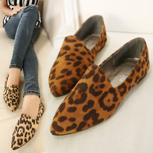 6e9c1279ab9c Women Leopard Flats Oxfords Slip On Loafers Pointed Toe Casual Pumps ...