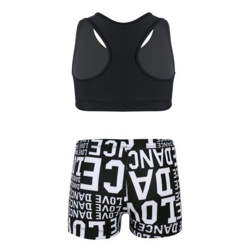 Kid Girls Gymnastics Leotard GYM Unitard 2pcs Ballet Outfits Dancewear Costume