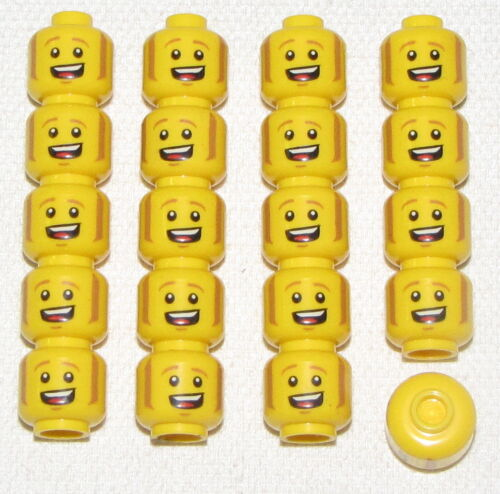 LEGO LOT OF 20 NEW YELLOW MINIFIGURE HEADS BIG SMILE SIDE BURNS PIECES