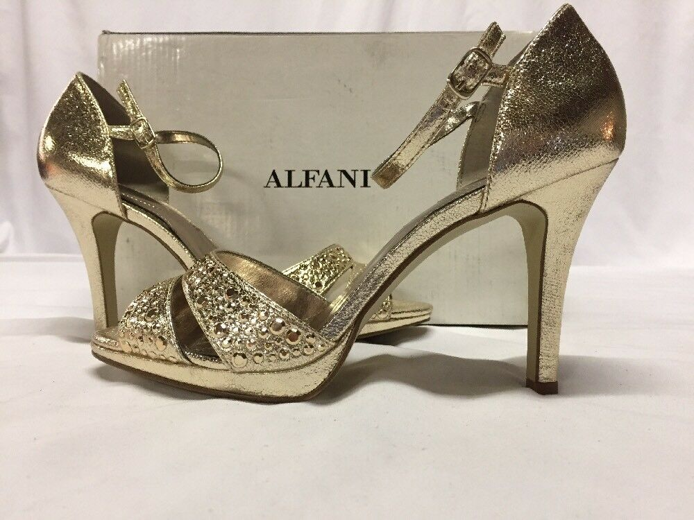 Alfany Women's Ivvey Ankle Heel Sandals, Platino, Size 9 M gold Bridal shoes