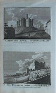 c1786-ANTIQUE-PRINT-WARKWORTH-CASTLE-NORTHUMBERLAND-GATE-TYNEMOUTH-castle