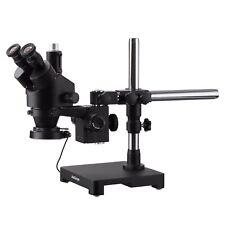 Amscope 7x 45x Trinocular Stereo Zoom Microscope Boom Ring Light