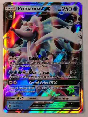 Base   Ultra Rare  NM//Mint   Pokemon Primarina GX 42//149 Sun /& Moon
