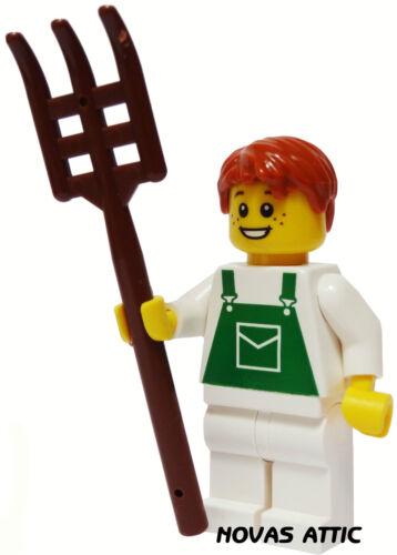 LEGO FARMER BOY WITH PITCHFORK  MINI FIGURE  NEW