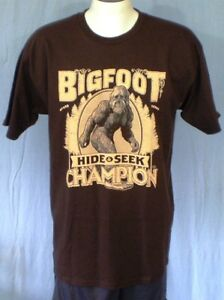 697d2be43 TeeFury Brown Large T-Shirt Bigfoot Hide & Seek Champion Cotton | eBay