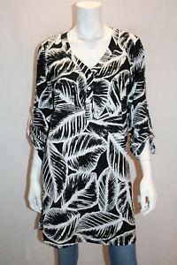 New-Cover-Brand-Black-White-Floral-Long-Sleeve-Shirt-Dress-Size-10-BNWT-RG20
