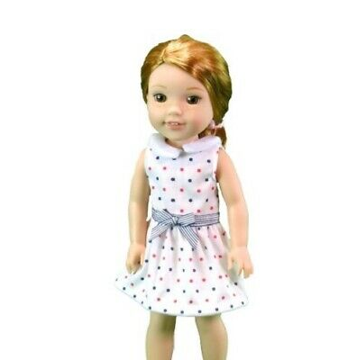 """Dots on Blue Dress fits 14.5/"""" American Girl Wellie Wishers Doll Clothes"""