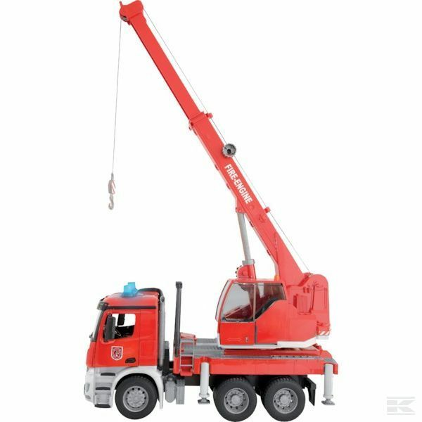 Bruder Mercedes Arcos Fire Fire Fire Engine With Crane And Sound Module 1 16 Scale Model 37510e