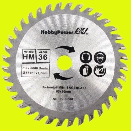 3 pièces lames de scie 36 dents pour mini Handkreissäge carbure HM TCT 85 mm//b30