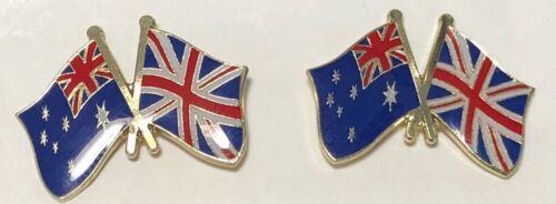pair Australian Xed Union Jack Flags -- - Lapel // hat pin badges C010405
