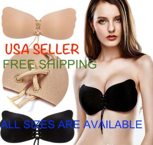 Backless Strapless Silicone Adhesive Bra Lace Up Push up Adjustable Bra A to D